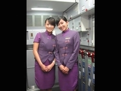 Asia of a certain airline cabin attendant is flowing out the in nature's garb Dziga take image and.