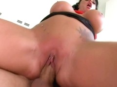 Big titted Kerry Louise bounces her twat on a huge dick