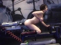 Adorable babe takes a dildo on a fuck machine