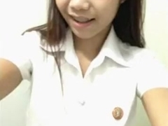 Petite asian cutie has cybersex with her bf on the floor on skype