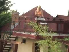 Blonde teen cum on roof