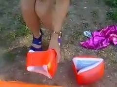 Kathrine destroy inflatable toys with heels!!!