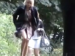 Group of women went pee outdoors