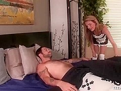 Slutty maid jacks off her boss