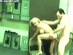 Horny blonde chick caught on hidden camera sucking and fucking