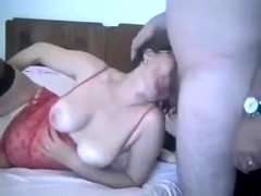 Just feeding my petite girlfriend with a dick while that hottie masturbates