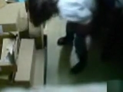 Food industry worker sneakily tapes himself fucking a colleague in the storage room