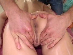 Busty blond slut Tristyn Kennedy getting massaged in a spa before seducing the guy