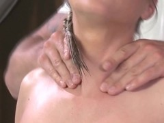 Massage client beauty tugs masseur to climax