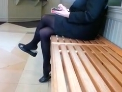 Candid Business Lady Insane Shoeplay Feet in Stockings