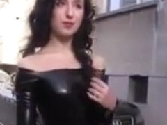 Black latex catsuit without zipper