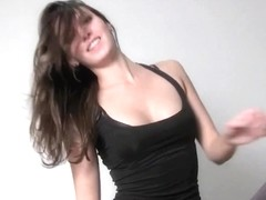 Busty toned brunette shows her nice curves in HD