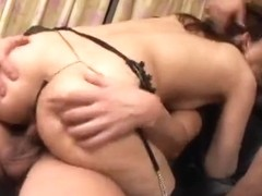 Wicked japanese mommy acquires double penetration by airliner1