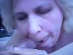 Fat mature wife slobbers on my dong