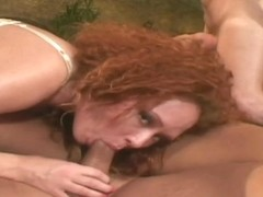 Blond destroyed by 2 dicks