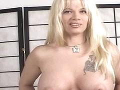 Video from Mytinydick: Busty blonde on the job