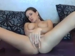 Lovely masturbating at cauch