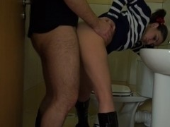 Anka in hardcore fucking with an amateur chick in a toilet