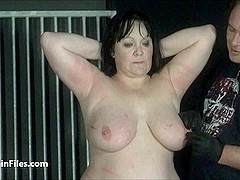 BBW amateur ### Chinas extreme needle bdsm and caged cattle prod electro torture of fat submissive