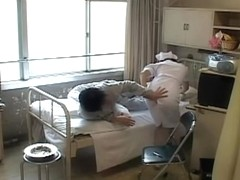 Japanese naughty nurse gets a big sticky internal creampie