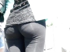 Firm ass and thong in black tights