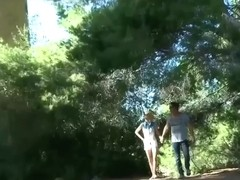 men join couple in woods