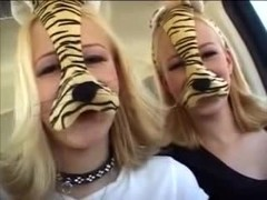 Diminutive Blond Twins Fuck Fella With Cock