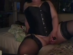 MY DEVOTE WIFE PLAYING WITH VIBRO-EGG IN STOCKINGS