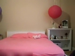 girl loves to tease on her bed