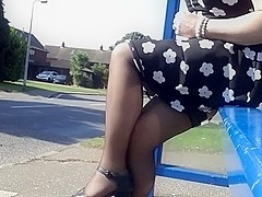 white patterned black  skater windy stockings upskirt