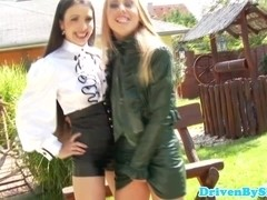 Petite euro babe fist fucks glam chick outdoors