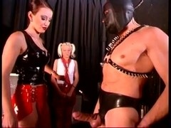 Mistress with 2 Slaves Upside Down Cum