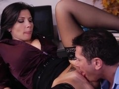 John Strong slams Rebeca Linares' ass in the office room