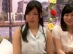 Two guys fuck two Japanese girls in public