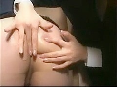 Japanese office gal gives bj and snowball