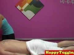 Busty asian masseuse rubbing and tugging