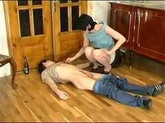 Mature 45 yo Clothed Woman Fucks Younger Guy