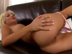 Blonde girlfriend Victoria Puppy rubs her pussy with a toy