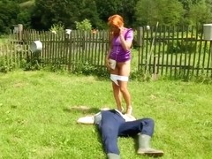 Outdoor redhead euro pisses in threeway