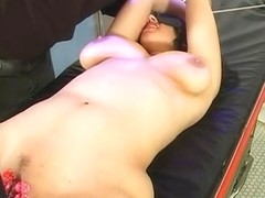 Black-haired bitch widens her cunt for her masters bidding