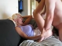 Breasty golden-haired screwed hard on the bed by her boyfriend who cums fast