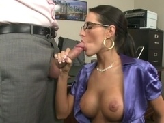 Fucking his busty boss to keep his job
