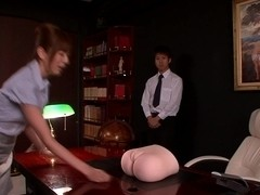oriental office squirting with facialized Yuma Asami