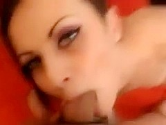 Brunette beauty fucks in pov and gets facial