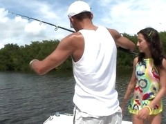 Young Amia Miley catches a huge male rod instead of fishing!