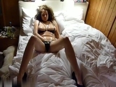 Gorgeous solo model spreading wide