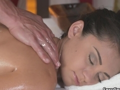 Creampied pussy on massage table
