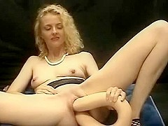Giant double headed dildo insertion both ends