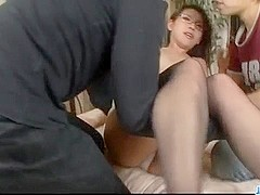 Mizuki Ogawa in Asian stockings threesome porn