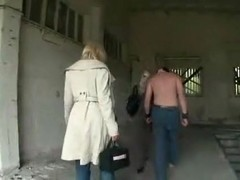 Two kinky blondes spank and wank a serf